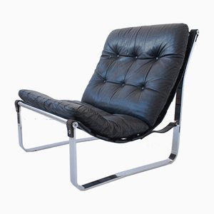 Scandinavian Leather and Chrome Sling Chair from Westnofa, 1970s