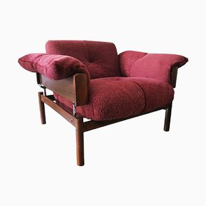 Brazilian Rosewood & Lambswool Lounge Chair by Percival Lafer, 1960s