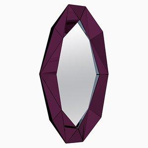 Burgunderroter dekorativer Spiegel mit Rahmen in Diamanten-Optik von Reflections Copenhagen
