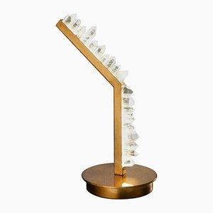 Weiße Tischlampe aus Bergkristall von Waldir Junior