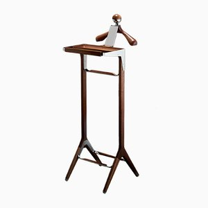 Classical Valet Stand in Stainless Steel & Sapele Wood by Honorific