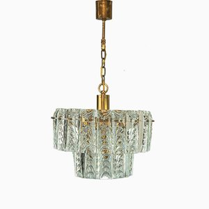 Brass and Crystal Glass Chandelier from Palwa, 1960s