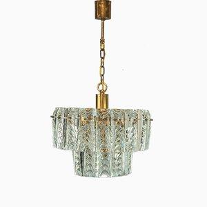 Lámpara de araña de vidrio y latón de Palwa, años 60