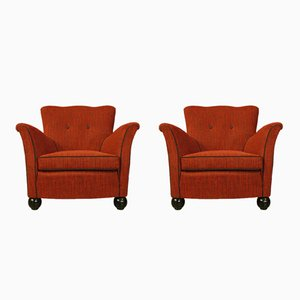 Red Fabric Armchairs from Fede Cheti, 1950, Set of 2