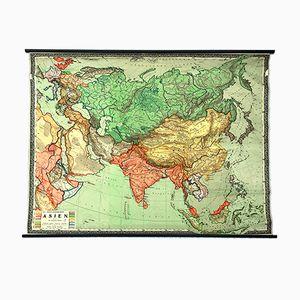 Mappa dell'Asia grande vintage, anni '50