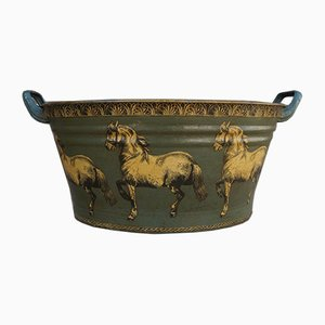 Mid-Century Enamel Tub with Horse Decor