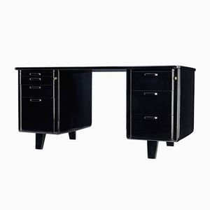 Scandinavian Black Lacquered Desk from Atvidabergs, 1950s
