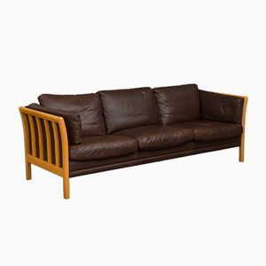 Danish Dark Brown Aniline Leather Sofa, 1970s