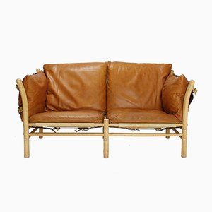 Scandinavian Brown Leather Two Seater Ilona Sofa by Arne Norell, 1960s