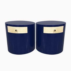 Mesitas de noche Mid-Century de pergamino azul, años 70. Juego de 2