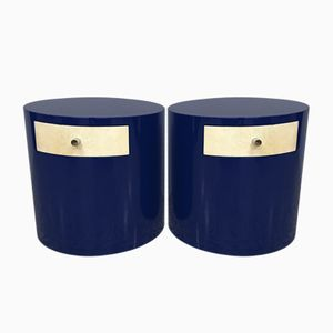 Mid-Century Modern Blue Parchment Nightstands, 1970s, Set of 2