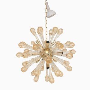 Lampadario Sputnik in vetro di Murano trasparente e dorato di Italian light design
