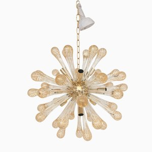 Sputnik Gold & Transparent Murano Glass Chandelier from Italian light design