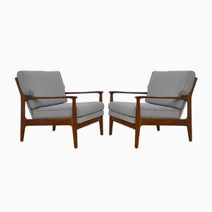 Danish Extendable Armchairs, 1960s, Set of 2