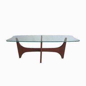 Mesa de centro vintage con tablero de vidrio de G-plan, años 60
