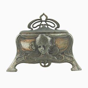 Scatola per gioielli antica placcata in argento di WMF