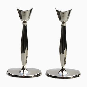 Silver-Plated Modernist Candleholders by Cohr, 1950s