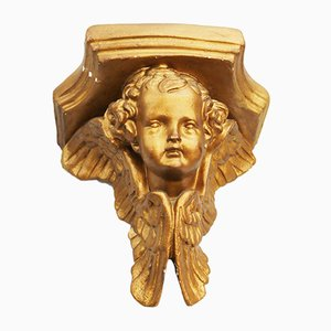 Vintage Gilded Plaster Corbel Shelf Brackets, 1960, Set of 2