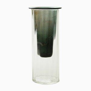 Vaso in verde fumé, collezione Moire, vetro soffiato di Atelier George