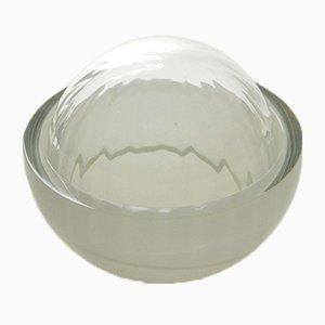 Hellgrauer Schmuckkasten aus mundgeblasenem Glas, Moire Collection von Atelier George