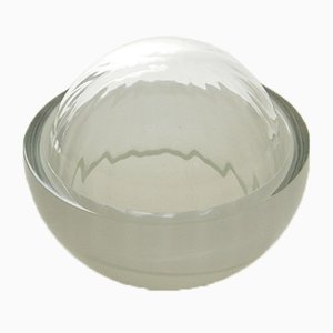 Jewelry Box in Light Grey, Moire Collection, Hand-Blown Glass by Atelier George