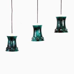 Vintage Enamelled Pendant Lamps, 1950s