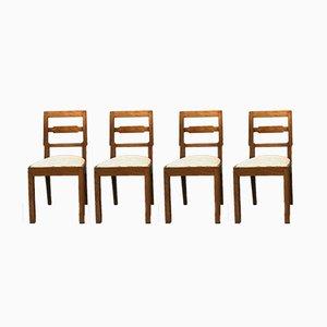 Art Deco Oak Chairs, 1940s, Set of 4