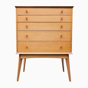 Mid-Century Teak & Walnut Tall Chest of Drawers by Alfred Cox, 1950s