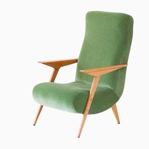 Italian Oakwood & Velvet Armchair, 1950s