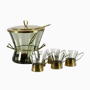 Smoked Glass & Brass Punch Set, 1960s