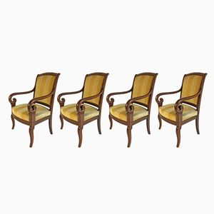 Antique French Mahogany Armchairs, Set of 4