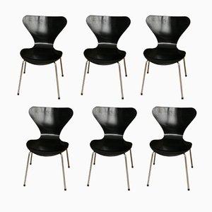Vintage 3107 Stühle von Arne Jacobsen für Fritz Hansen, 6er Set