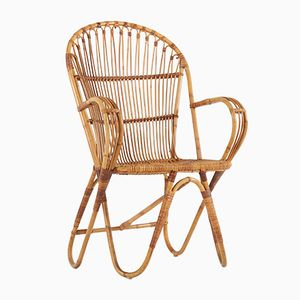 Dutch Rattan Lounge Chair from Het Rotanhuis, 1960s