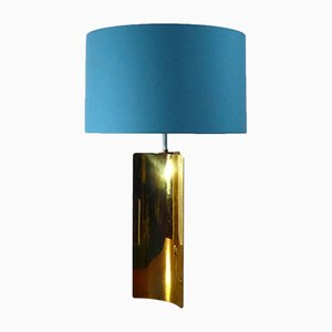Large Gold Brass Table Lamp, 1970s