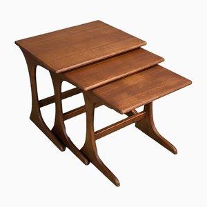 Tavolini ad incastro in teak, anni '70, set di 3