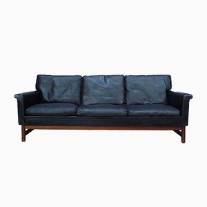 Danish Leather and Teak Three-Seater Sofa, 1960s