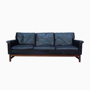 Sofá de tres plazas danés de cuero y teca, años 60