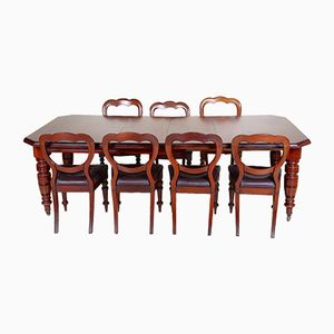 Antique Victorian Mahogany Dining Set, Table and 6 Chairs