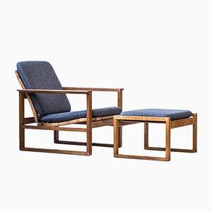 Sessel und Fußhocker von Børge Mogensen für Fredericia, 1950er