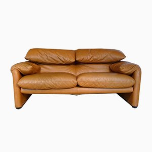 Maralunga Two-Seater Leather Sofa by Vico Magistretti for Cassina, 1970s
