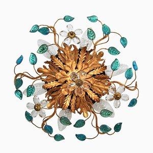 Italian Gilded Metal Ceiling Lamp with Glass Leaves by Banci Florence, 1960s