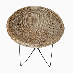 Vintage Tripod Wicker Basket, 1960s
