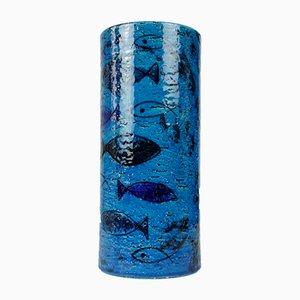 Grand Vase Cylindrique avec Fish Designs par Aldo Londi pour Bitossi, 1970s