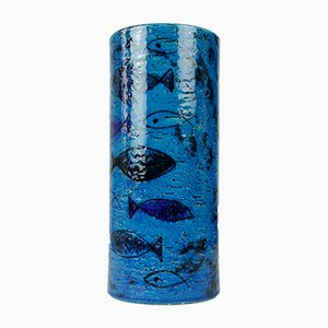 Large Cylindrical Vase with Fish Designs by Aldo Londi for Bitossi, 1970s