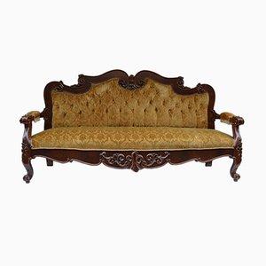 Antikes italienisches Walnuss und Samt Sofa
