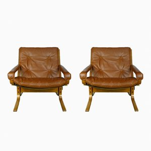 Leather and Plywood Siesta Chairs by Ingmar Relling for Westnofa, 1960s, Set of 2