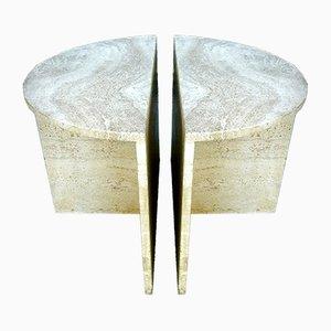 Tables d'Appoint Sculpturales en Travertin, Italie, 1960s, Set de 2