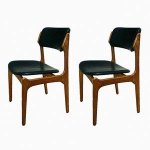 Sillas modelo 49 danesas de cuero de Erik Buch para O.D. Møbler, años 60. Juego de 2