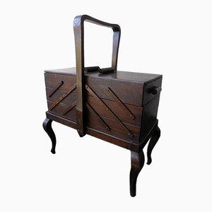 Caja de la costura vintage de madera, años 50