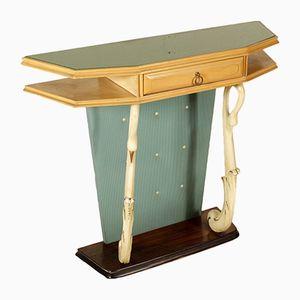 Mesa consola de chapa de fresno, escay y vidrio, años 40